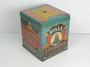 Stothert's tin of Caster Oil pills, late 19th century Source: www.oldshopstuff.com