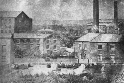 Burton House (on the right) and mills in the background, c.1860s (Source: John Lunn 'A Short History of the Township of Tyldesley, 1953) p.113