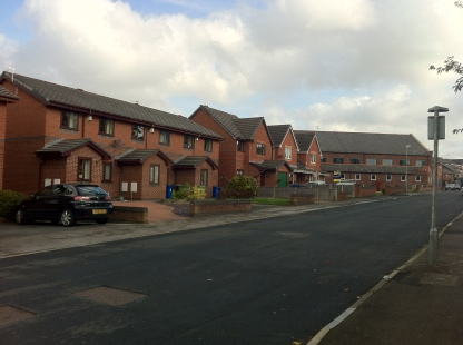 Factory Street, 2015. Burton House would have been where the houses are today on the left of the photograph. (Source: Own Photograph, 2015)