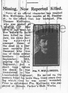 Thomas Mullineaux, Leigh Journal, 21 February 1919. (Source: L1918.2.P140.jpg , Wigan Archives and Leigh Local Studies)