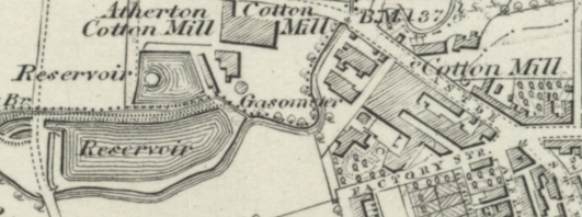 Map of Tyldesley 1846-1849. Showing Factory Street and James Burton's Mills (Source: http://maps.nls.uk/view/102344048)