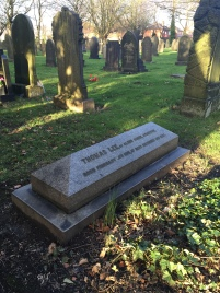 The grave of Thomas Lee, founder of the Lee Spinning Company and Lee Street, Atherton is named in his honour. (Source: Own Photograph, 2016)