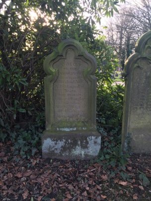 The grave of Sarah and Jane Pearson. Sarah was a school mistress for young ladies in the 1810s. Sarah died in November 1857 and therefore her headstone marks one of the earliest graves in the cemetery as she was buried in the same year it opened. (Source: Own Photograph, 2016)