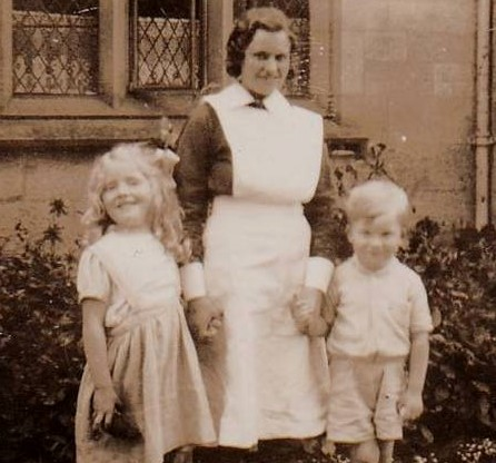 Eveline uniformwith Mary and Jonnie Gibson
